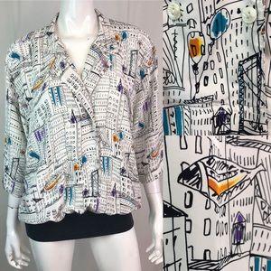 Vintage 80s 90s Cityscape Drop-waist Blouse Tunic